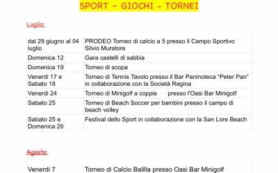Sport Giochi e Tornei – Estate 2015
